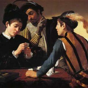 Caravaggio, Michelangelo Merisi da – The Cardsharps (I Bari) Oil Painting Reproductions