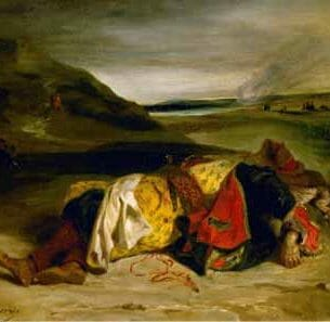 Delacroix, Eugene – The Death of Hassan, or Turkish Officer Killed in the Mountains Oil Painting Reproductions