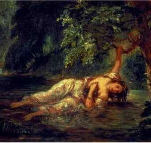 Delacroix, Eugene – The Death of Ophelia Oil Painting Reproductions