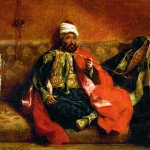 Delacroix, Eugene – Turk, Smoking on a Divan Oil Painting Reproductions