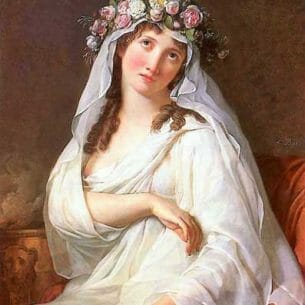 David, Jacques-Louis – A Vestal Virgin Crowned With Flowers Oil Painting Reproductions