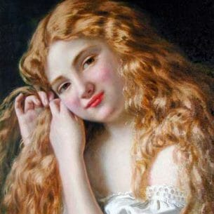 Anderson, Sophie Gengembre: Young Girl Fixing Her Hair Oil Painting Reproductions