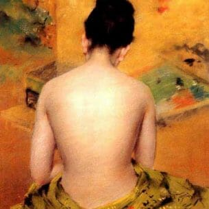 Chase, William Merritt(USA): Back Of A Nude Oil Painting Reproductions