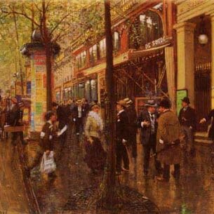 Beraud, Jean(France): The Great Boulevard: The Theatre des Varietes Oil Painting Reproductions