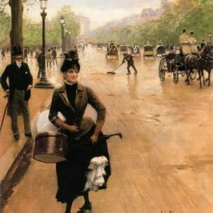 Beraud, Jean(France): The Milliner on the Champs Elysees Oil Painting Reproductions