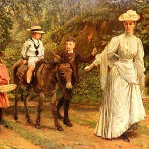 Barwell, John: A donkey Ride Along A Woodland Path Oil Painting Reproductions