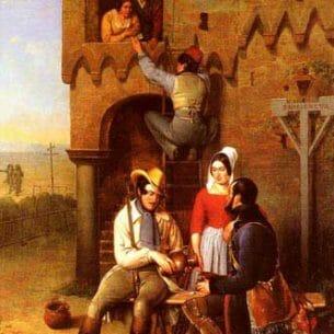 Bernard, Adolphe(Belgium): Flirtation at the Town Gate Oil Painting Reproductions