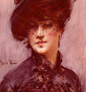 Boldini, Giovanni(Italy): Lady with a Black Hat Oil Painting Reproductions