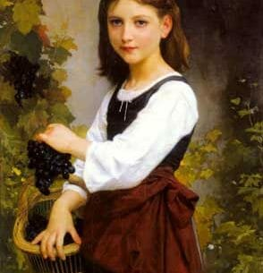 Bouguereau, Elizabeth Jane Gardner: A Young Girl Holding A Basket Of Grapes Oil Painting Reproductions