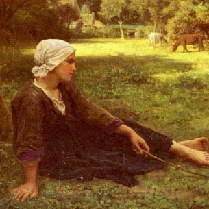 Breton, Jules(France): Girl Guarding the Cows Oil Painting Reproductions