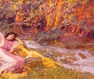 Bridgman, Frederick Arthur(USA): Reclining By A Stream Oil Painting Reproductions