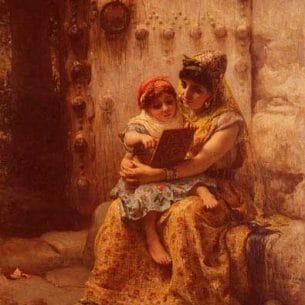 Bridgman, Frederick Arthur(USA): The Reading Lesson Oil Painting Reproductions