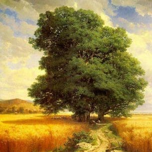 Calame, Alexandre: Landscape with Oak Trees Oil Painting Reproductions