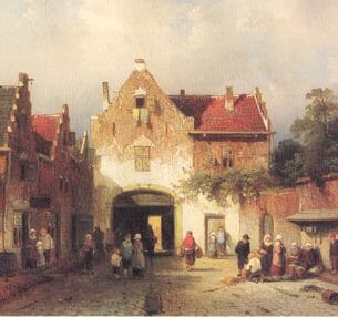 Charles Leickert – A View in a Town with Numberous Townfolk at a City-gate