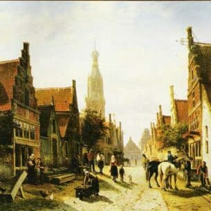 Cornelis Springer: Town View Oil Painting Reproductions