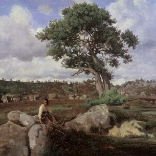 Corot, Jean-Baptiste-Camille: Fontainebleau-The Raging One Oil Painting Reproductions