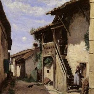 Corot, Jean-Baptiste-Camille: A Village Steeet Dardagny Oil Painting Reproductions