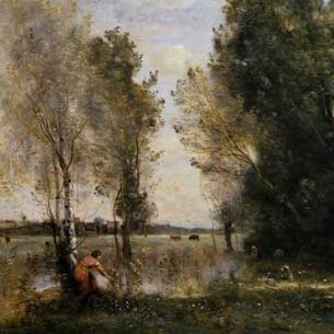 Corot, Jean-Baptiste-Camille – Woman Picking Flowers in a Pasture Oil Painting Reproductions