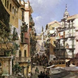 Campo, Federico Del – A Busy Thoroughfare, Palermo, Sicily Oil Painting Reproductions