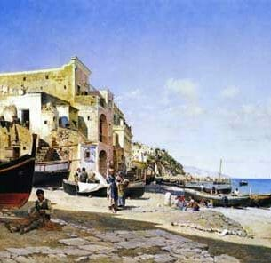 Campo, Federico Del – The Harbour, Capri Oil Painting Reproductions