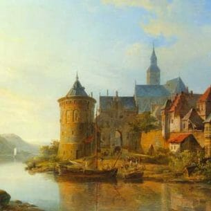 Cornelis Springer: A View of a Town Along the Rhine Oil Painting Reproductions