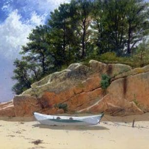 Bricher, Alfred Thompson – Dory on Dana's Beach, Manchester-by-the-Sea, Massachusetts Oil Painting Reproductions