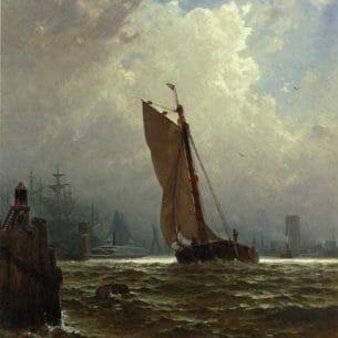 Bricher, Alfred Thompson – New York Harbor with the Brooklyn Bridge Under Construction