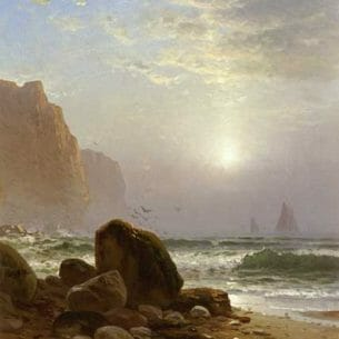 Bricher, Alfred Thompson – Rocky Coastal Scene with a View of Passing Ships Oil Painting Reproductions