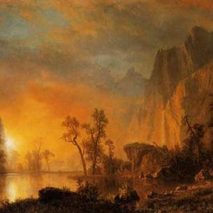 Bierstadt, Albert(USA) – Sunset in the Rockies Oil Painting Reproductions