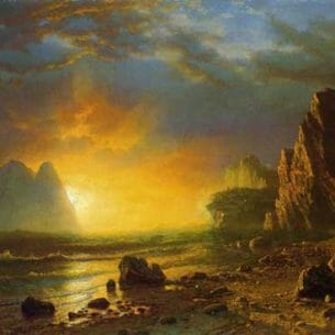 Bierstadt, Albert(USA) – Sunset on the Coast Oil Painting Reproductions
