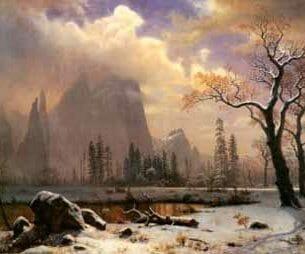 Bierstadt, Albert(USA) – Yosemite Winter Scene