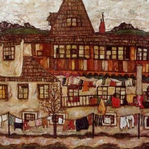 Egon Schiele – House with Drying Laundry Oil Painting Reproductions