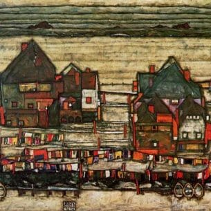 Egon Schiele – Houses with Laundry Oil Painting Reproductions