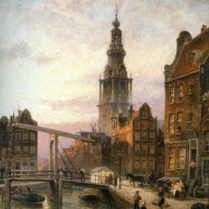 Dommelshuizen, Cornelis Christiaan(Holland): The Zuider Kerk at Dusk, Amsterdam Oil Painting Reproductions
