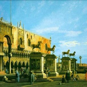 Canaletto(Italy): Capriccio: the Horses of San Marco in the Piazzetta Oil Painting Reproductions