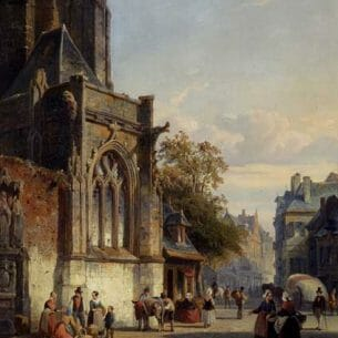 Cornelis Springer: Town Square Before A Church: A Capriccio Oil Painting Reproductions