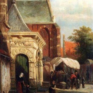 Cornelis Springer: A View Of The South Entrance Of The St. Pancras Church, Enkhuizen Oil Painting Reproductions