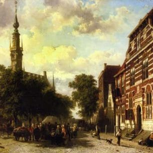 Cornelius Springer – A Busy Market in Veere with the Clocktoewer of the Town Hall Beyond Oil Painting Reproductions