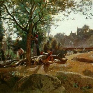 Corot, Jean-Baptiste-Camille: Peasants Under the Trees at Dawn, Morvan Oil Painting Reproductions