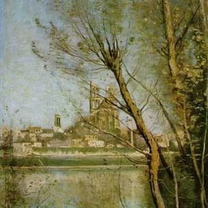 Corot, Jean-Baptiste-Camille: The Cathedral of Mantes Oil Painting Reproductions
