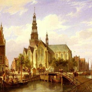 Dommelshuizen, Cornelis Christiaan(Holland): A Capriccio View Of Amsterdam Oil Painting Reproductions