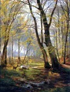 Aagard, Carl Fredrik: A Woodland Scene With Deer