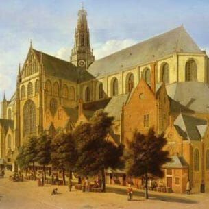 Berckheyde, Gerrit(Baroque): The Exterior Of The Church Of Saint Bavo In Harlem Oil Painting Reproductions