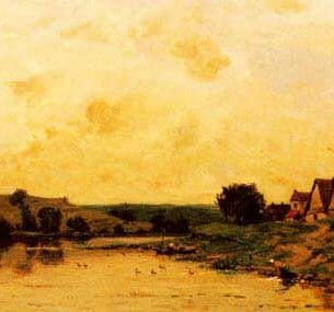 Delpy, Hippolyte Camille(France): Washerwomen by the Banks of a River Oil Painting Reproductions