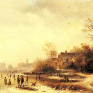 Doll, Anton(Germany): Figures in a Frozen Winter Landscape Oil Painting Reproductions