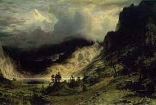 Bierstadt, Albert (USA): Storm in the Rocky Mountains, Mt.Rosalie Oil Painting Reproductions