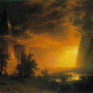 Bierstadt, Albert (USA): Sunset in the Yosemite Valley Oil Painting Reproductions