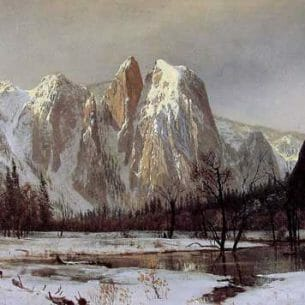 Bierstadt, Albert(USA): Cathedral Rocks, Yosemite Valley, California Oil Painting Reproductions