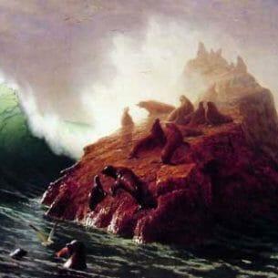Bierstadt, Albert(USA): Seal Rock Oil Painting Reproductions