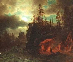 Bierstadt, Albert(USA): The Trappers' Camp Oil Painting Reproductions
